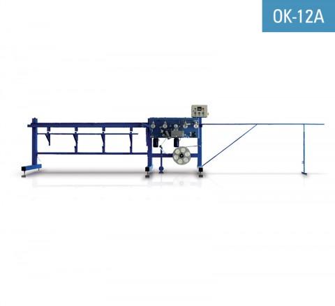 Encoladora de perfil cantonera PVC o aluminio con malla de fibra de vidrio NEWECO OK-12A para encolar malla al perfil utilizando el adhesivo hotmelt