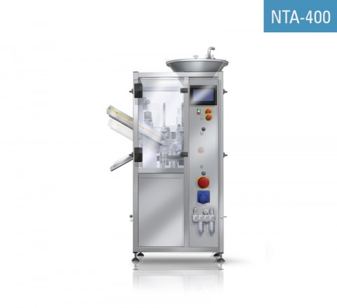 Remplisseuse automatique de tubes métallique NTA-400 pour le remplissage des tubes en aluminium, leur sertissage et l'estampillage de la date.
