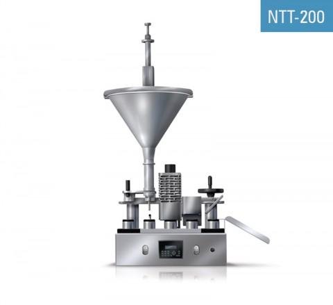 Remplisseuse semi-automatique de tubes plastique NTT-200 pour remplissage, soudure, estampillage de la date et découpe d'excès de plastique.